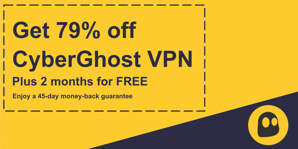 Graphic of a working CyberGhost VPN coupon offering 79% discount and 2 months for free with a 45 day money back guarantee