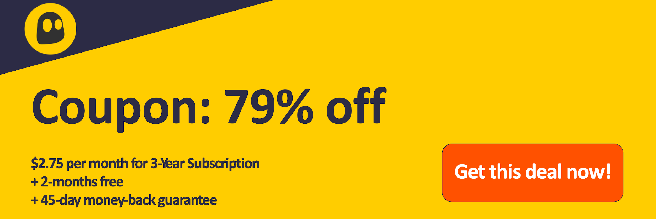 Graphic of a working CyberGhost VPN coupon offering a 79% discount which is $2.75 per month on a 3 year subscription with 2 extra months for free and a 45 day money back guarantee