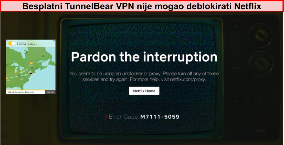 Snimka zaslona TunnelBear VPN spojena sa SAD-om s Netflixom, koja prikazuje poruku o deblokadi ili proxy poslužitelju