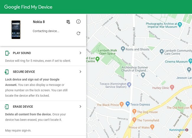 Screenshot of device tracking interface showing data for Nokia 8 device