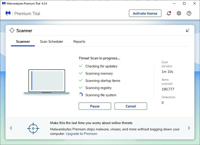 Screenshot of Malwarebyte's anti-malware software showing its user interface for the Scanner tab while running a scan