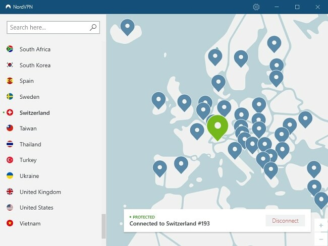 Screenshot of NordVPN desktop app connected to Switzerland server