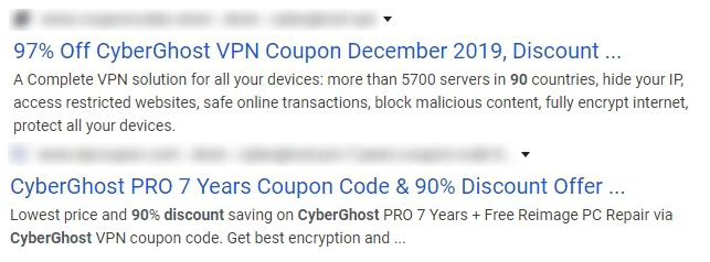 Screenshot of outdated CyberGhost offers