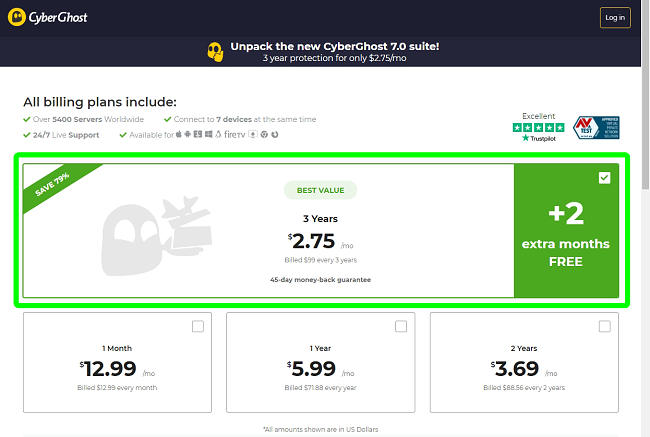 Screenshot of payment plans on CyberGhost's payment page