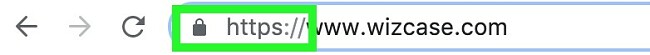 Screenshot of Address bar showing WizCase IP address with highlighted HTTPS protocol
