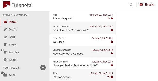 Screenshot of Tutanota's encrypted email service showing its user interface for Inbox tab
