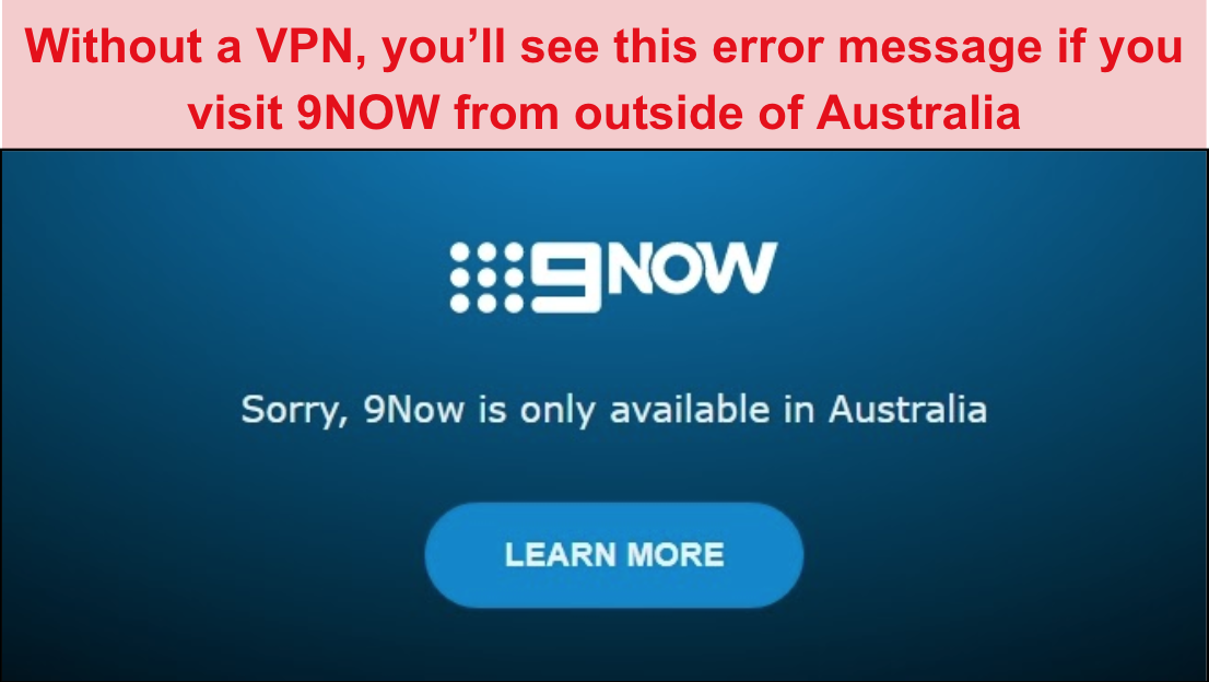 Screenshot of 9NOW error message when visiting from outside of Australia