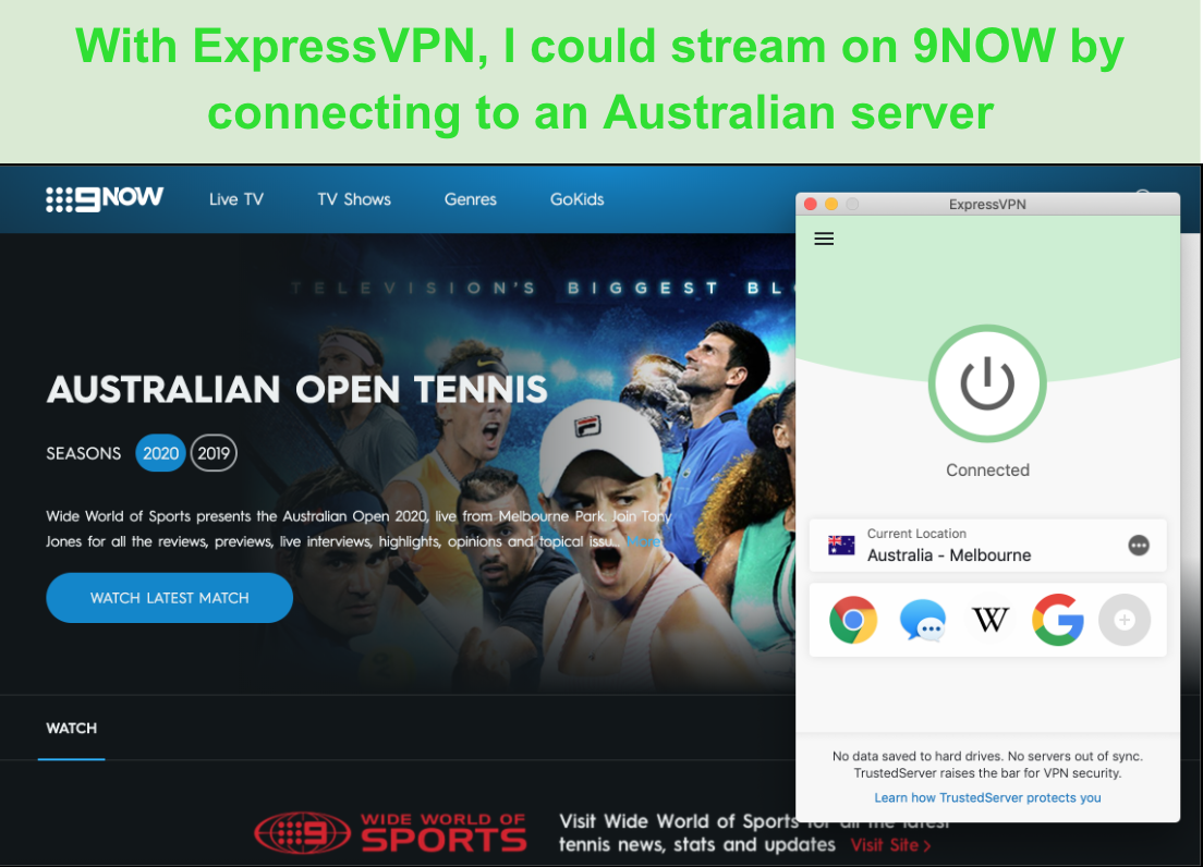 Screenshot of ExpressVPN providing access to the 9NOW streaming website showing the Australian Open Tennis
