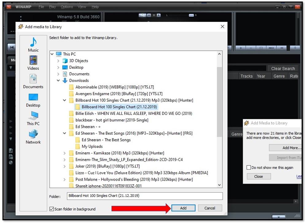 Add file to Winamp Playlist