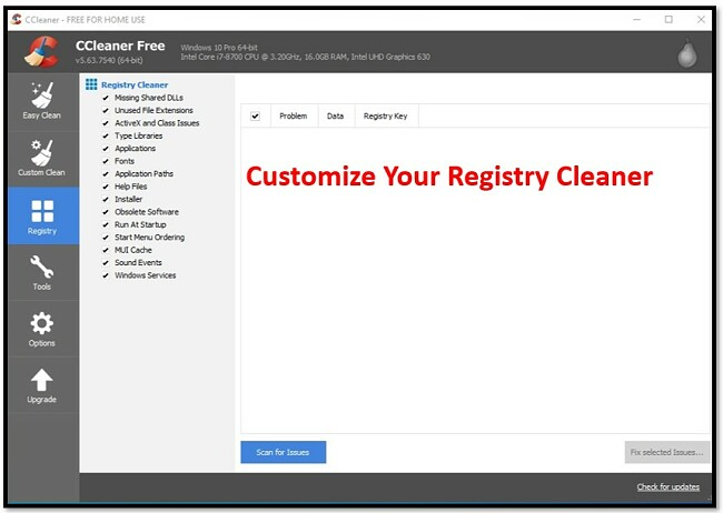 CCleaner Customize Your Registry