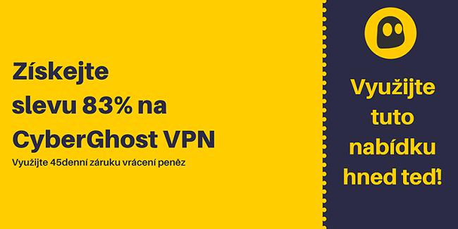 Obrázek fungujícího kupónu CyberGhost VPN nabízející slevu 83% a 3 měsíce zdarma se 45denní zárukou vrácení peněz
