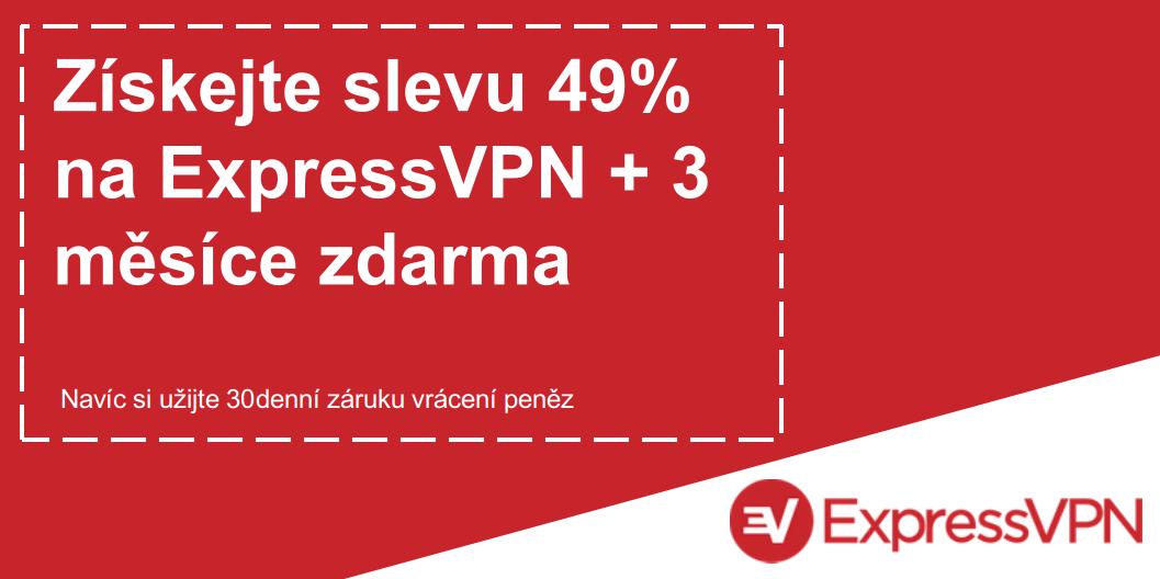 Grafika platného kupónu ExpressVPN nabízejícího 49% slevu a 3 měsíce zdarma s 30denní zárukou vrácení peněz