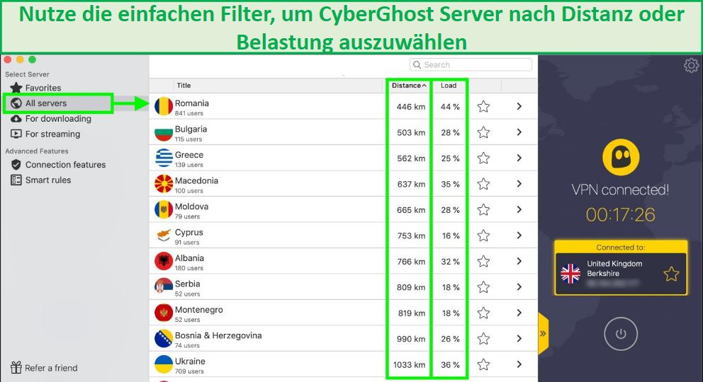 Screenshot zeigt, wie Cyberghost-Server nach Entfernung oder Ladezeit gefiltert werden