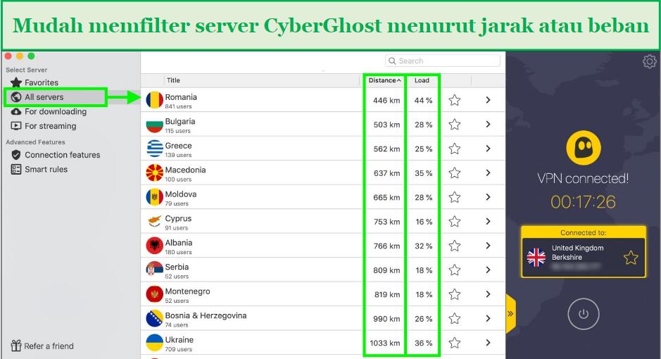 tangkapan layar yang menunjukkan cara memfilter server cyberghost berdasarkan jarak atau waktu buka