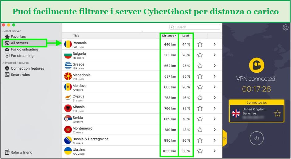 screenshot che mostra come filtrare i server cyberghost in base alla distanza o al tempo di caricamento