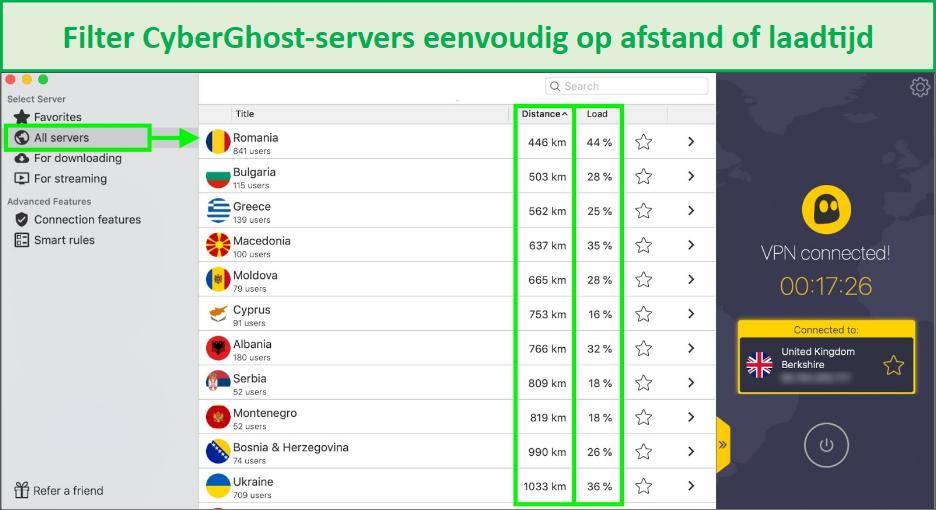 screenshot die laat zien hoe cyberghost-servers op afstand of laadtijd kunnen worden gefilterd