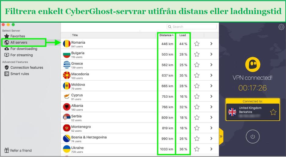 skärmdump som visar hur man filtrerar cyberghost-servrar efter avstånd eller laddningstid