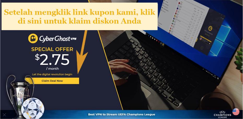 Tangkapan layar dari halaman kupon dan penawaran tersembunyi CyberGhost