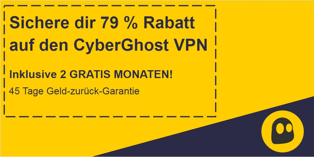 Grafik eines funktionierenden CyberGhost VPN-Gutscheins mit 79% Rabatt und 2 Monaten kostenlos mit einer 45-tägigen Geld-zurück-Garantie