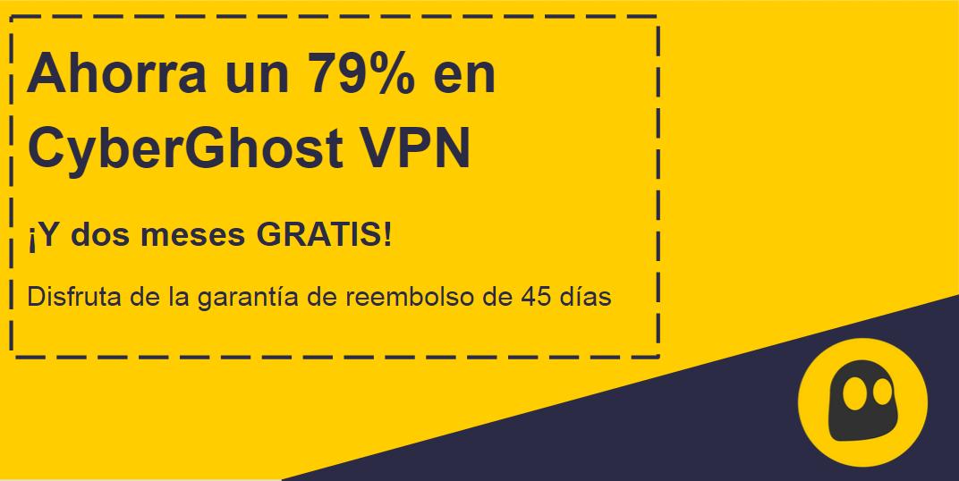 Gráfico de un cupón de CyberGhost VPN en funcionamiento que ofrece un 79% de descuento y 2 meses gratis con una garantía de devolución de dinero de 45 días