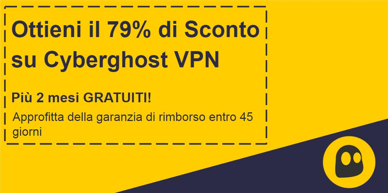 Immagine di un coupon CyberGhost VPN funzionante che offre uno sconto del 79% e 2 mesi gratuiti con una garanzia di rimborso di 45 giorni