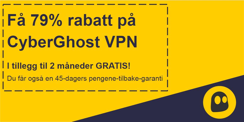 Grafikk av en fungerende CyberGhost VPN-kupong som tilbyr 79% rabatt og 2 måneder gratis med 45 dagers pengene tilbake-garanti