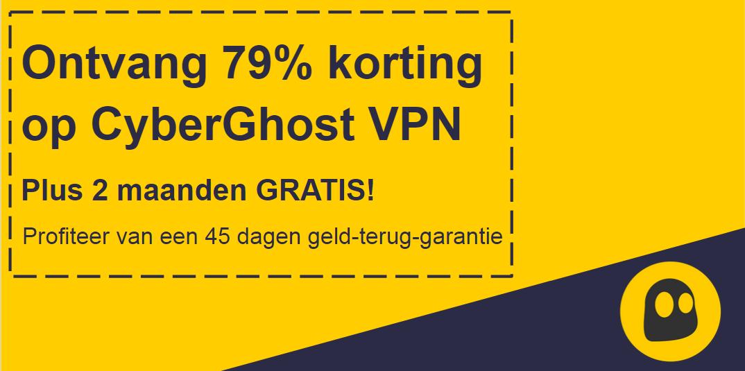 Afbeelding van een werkende CyberGhost VPN-tegoedbon met 79% korting en 2 maanden gratis met een 45 dagen geld-terug-garantie