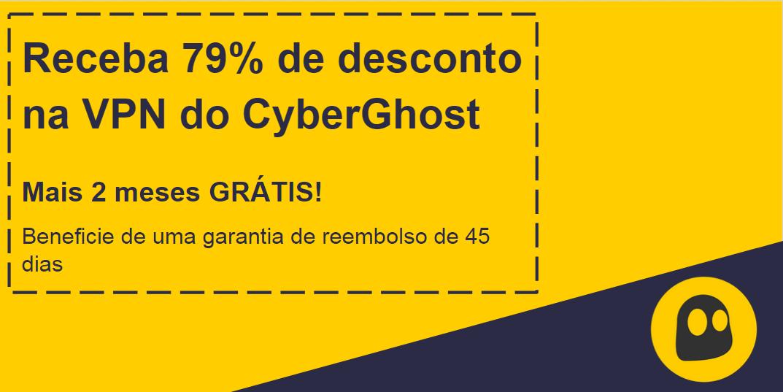 Gráfico de um cupom de VPN CyberGhost funcional que oferece 79% de desconto e 2 meses gratuitos com garantia de devolução do dinheiro por 45 dias