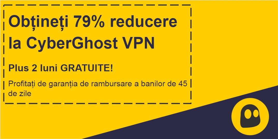 Graficul unui cupon CyberGhost VPN funcțional care oferă 79% reducere și 2 luni gratuit, cu o garanție de returnare a banilor de 45 de zile