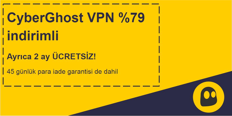 45 gün para iade garantisi ile% 79 indirim ve 2 ay ücretsiz sunan çalışan bir CyberGhost VPN kuponunun grafiği