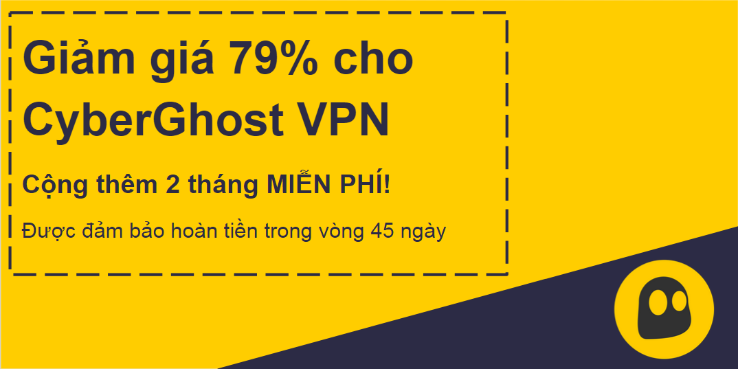 Hình ảnh một phiếu giảm giá CyberGhost VPN đang hoạt động cung cấp chiết khấu 79% và 2 tháng miễn phí với bảo đảm hoàn tiền trong 45 ngày