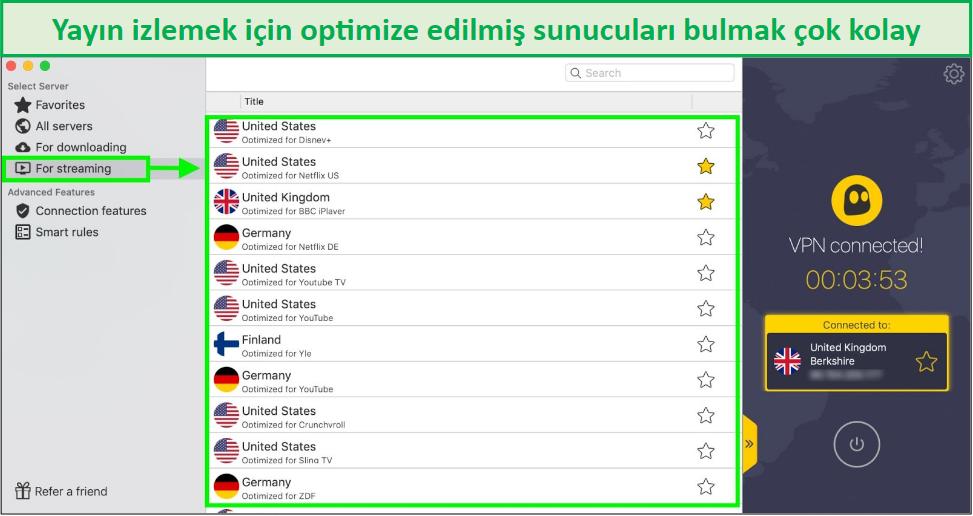 cyberghost akış için optimize edilmiş sunucuları gösteren ekran görüntüsü