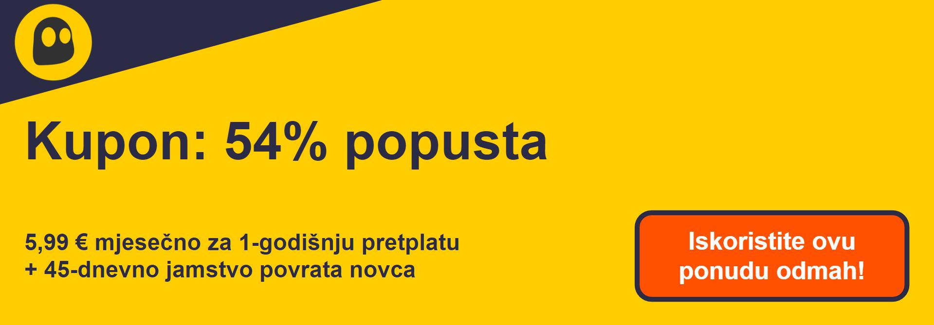 Grafika radnog CyberGhost VPN kupona koji nudi popust od 54%, što iznosi 6,99 USD mjesečno na jednogodišnju pretplatu s jamstvom povrata novca od 45 dana