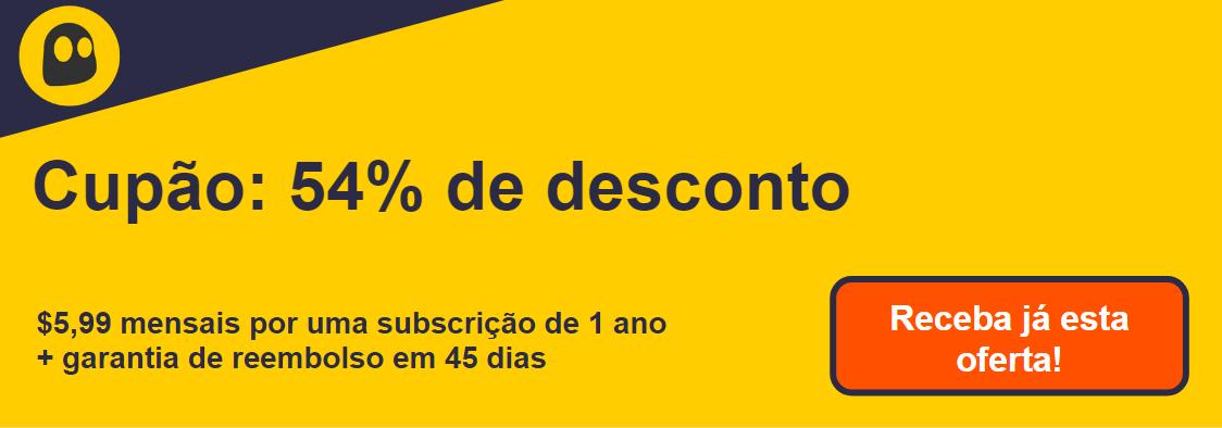Gráfico de um cupom de VPN CyberGhost funcional que oferece um desconto de 54%, que é de $ 6,99 por mês em uma assinatura de 1 ano com garantia de reembolso de 45 dias