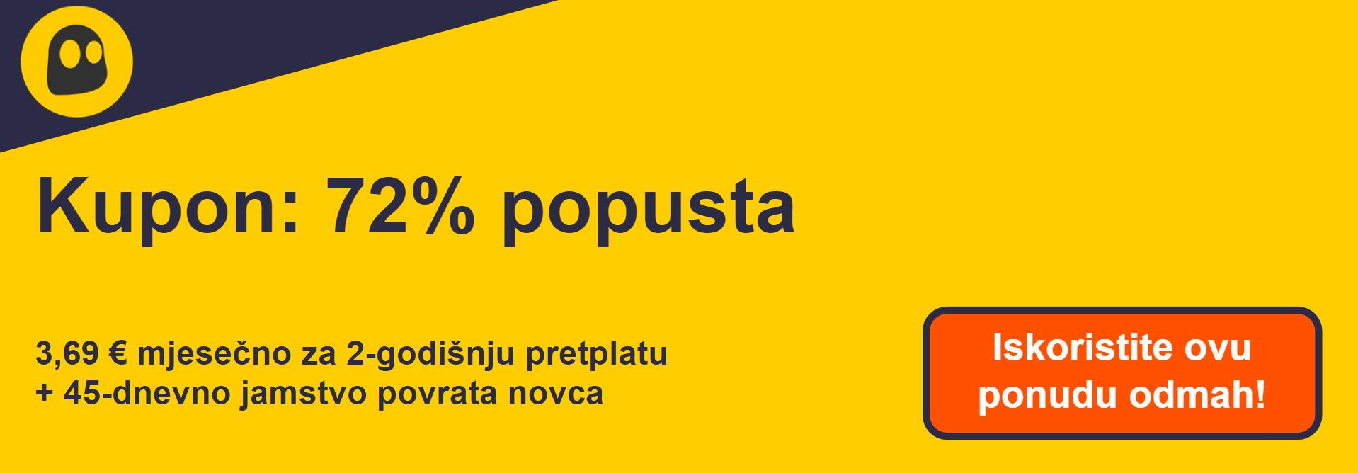Grafika radnog CyberGhost VPN kupona koji nudi popust od 72%, što iznosi 4,99 USD mjesečno na dvogodišnjoj pretplati s jamstvom povrata novca od 45 dana
