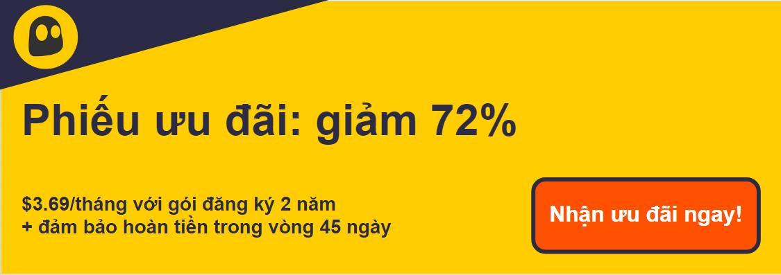 Hình ảnh một phiếu giảm giá CyberGhost VPN đang hoạt động cung cấp chiết khấu 72%, là 4,99 đô la mỗi tháng khi đăng ký 2 năm với bảo đảm hoàn tiền trong 45 ngày