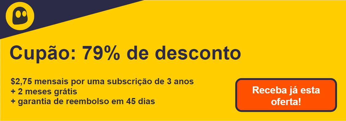 Gráfico de um cupom de VPN CyberGhost funcional que oferece um desconto de 79%, que é de $ 2,75 por mês em uma assinatura de 2 anos com 2 meses extras gratuitos e uma garantia de reembolso de 45 dias