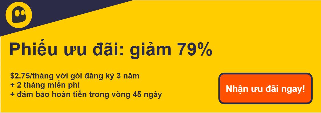 Hình ảnh của một phiếu giảm giá CyberGhost VPN đang hoạt động cung cấp chiết khấu 79%, là 2,75 đô la mỗi tháng khi đăng ký 2 năm với 2 tháng bổ sung miễn phí và đảm bảo hoàn tiền trong 45 ngày
