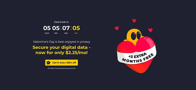 Captura de pantalla de la página de ofertas y cupones ocultos de CyberGhost