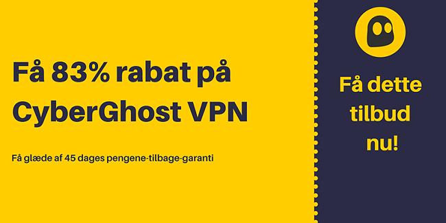 Grafik af en fungerende CyberGhost VPN-kupon, der tilbyder 83% rabat og 3 måneder gratis med en 45 dages pengene-tilbage-garanti