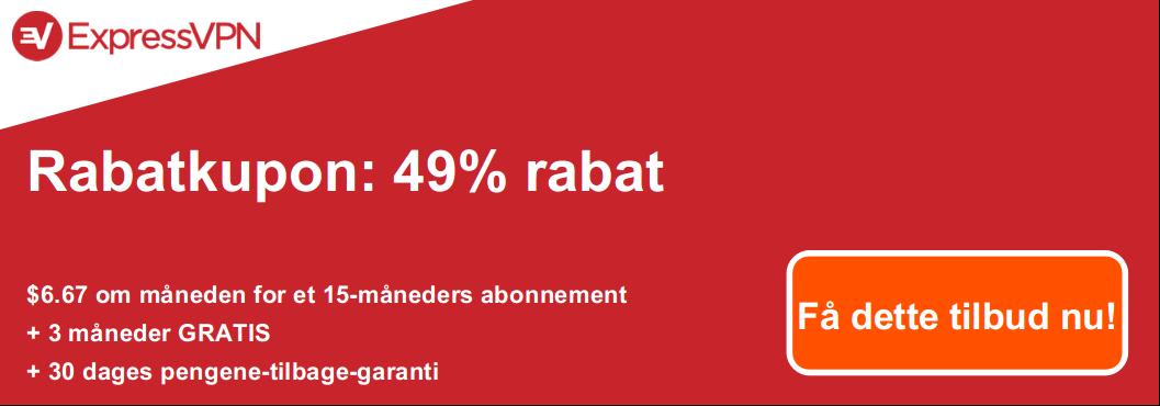 Grafik over en gyldig ExpressVPN-kupon, der tilbyder 49% rabat og 3 måneder gratis med en 30-dages pengene-tilbage-garanti