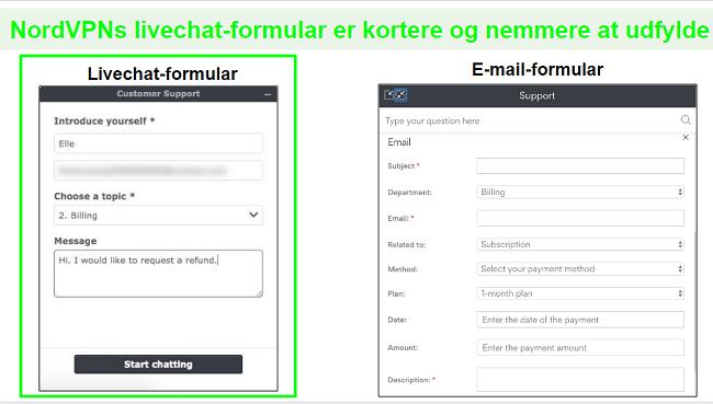 Skærmbilleder af en anmodning om tilbagebetaling af NordVPN via live chat sammenlignet med e-mail