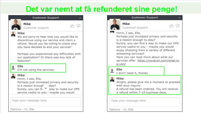 Skærmbilleder af en refusionsanmodning via live chat med en NordVPN kundesupportagent.