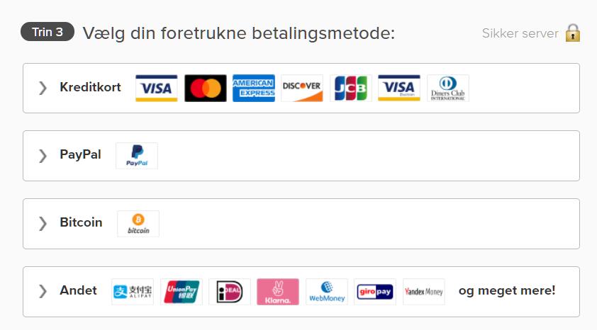 Skærmbillede af betalingsmuligheder på ExpressVPNs side inklusive kreditkort, PayPal og Bitcoin
