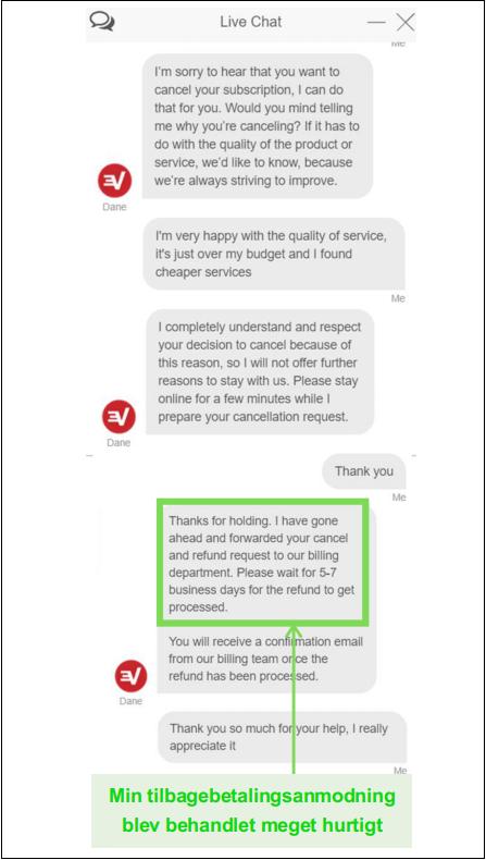 Skærmbillede af en ExpressVPN-refusionsanmodning via live chat