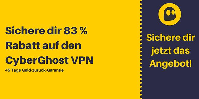 Grafik eines funktionierenden CyberGhost VPN-Gutscheins mit 83% Rabatt und 3 Monaten kostenlos mit einer 45-tägigen Geld-zurück-Garantie