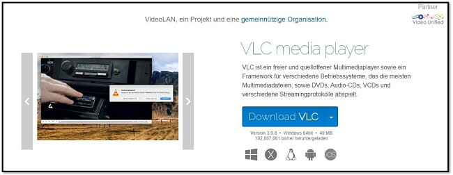 VLC Offizielle Download-Seite