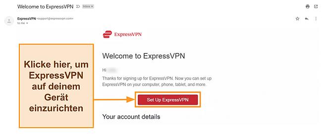 Screenshot der Begrüßungs-E-Mail von ExpressVPN an Neukunden mit Einrichtungsanweisungen