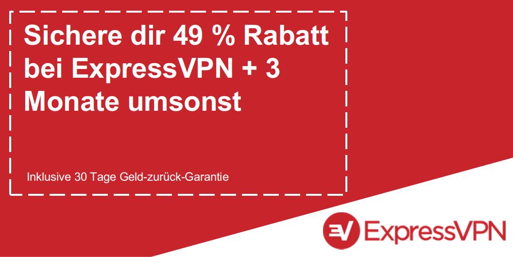 Grafik eines gültigen ExpressVPN-Gutscheins mit 49% Rabatt und 3 Monaten kostenlos mit einer 30-tägigen Geld-zurück-Garantie