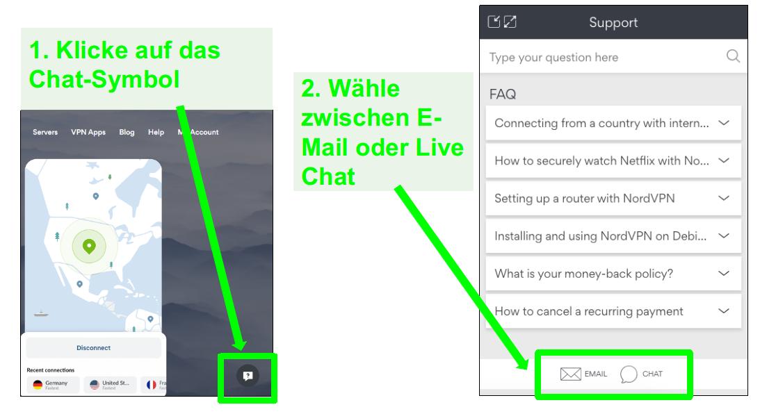 Screenshots einer NordVPN-Rückerstattungsanforderungsoption per Live-Chat oder E-Mail